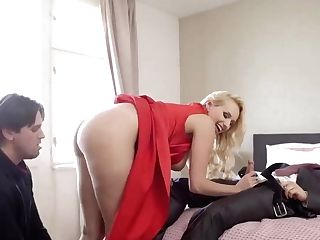 Lovely Blonde Mummy In A Crimson Sundress, Angel Wicky Is Drooling On Two Hard Stiffys
