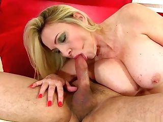Voluptuous Blonde Mummy In Black Stockings Gets Fucked By A Youthful Stud