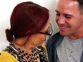 Big Jugged Ginger-haired In Glasses Carmen Caliente Gets Her Latina Cunt Fucked