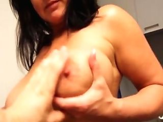 Aughty Cougar Wanking In The Kitchen