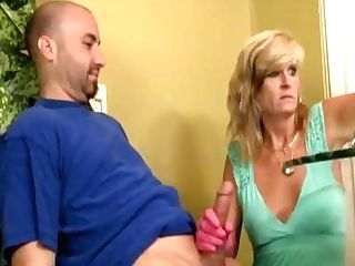 Mture Lady Gloved Tugjob