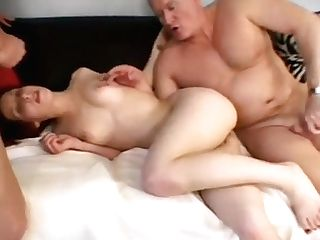 Petite Cougar Gets Her Crank On When Her Man Brings A Friend To Couch