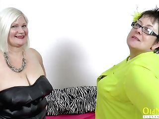 """oldnanny Two Chesty Meaty Girly-girl Cougars Playing"""
