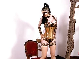 Hot Brown-haired Spandex Lucy In Rubber Mask, Corset, Stockings And