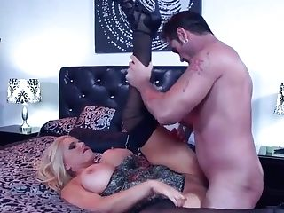 Thick Blonde Mom With Corset Takes Prick