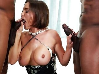 Hot Single Mom Krissy Lynn Guzzles Two Black Dicks And Gets Her A-hole Fucked