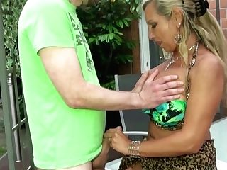 German Mummy Entice To Public Fuck On Soiree By Youthful Stud