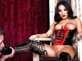 Black Haired Asian  Asa Akira In Spandex Corset Shows