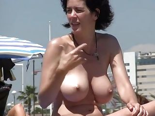Incredible Big Orbs Naturist Mummy On The Beach