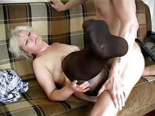 Matures Blonde In Stockings Fucks The Boy