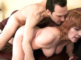 Crazy Ginger-haired Cougar In Black Stockings Calliste Goes Crazy For A Dick