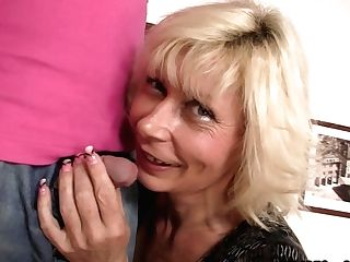 Blonde Mom-in-law Pleases Him