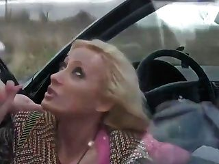 Buxom Cougar Deep-throats Manstick In Car And Gets Jizz In Mouth