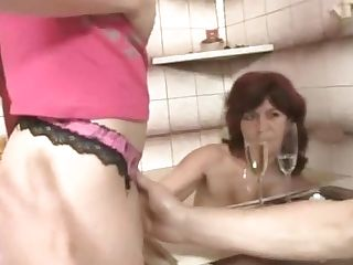 Threesome With Old Mom And Big-cocked Dad