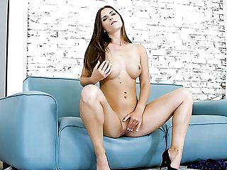 Alone And Charming Dame Barbie Sins Loves Flashing And Playing With Tits