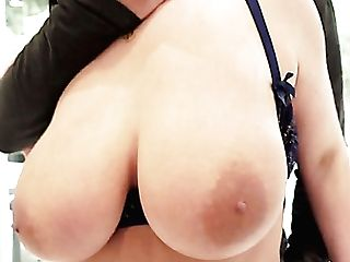 After Flashing Her Fascinating Giant Mammories Angela Milky Gets Analfucked