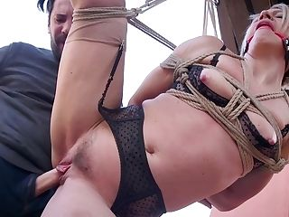 Tied Up Blonde Helena Locke Is Fucked With A Electro-hitachi In Broad Daylight