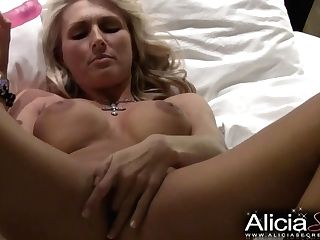 Desired Alicia Secrets Spreads Her Gams And Fucktoys Her Labia