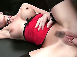 Inviting Brown-haired Bitch With Faux Funbags Gets Pounded Hard