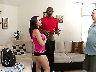 Sporty Well Shaped Cutie Kayla West Lures Nerdy Black Dude For Hot Rear End