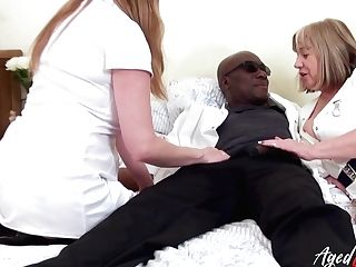 Two Chubby Head Nurses Bang One Black Man And Eat His Jizm Insatiably